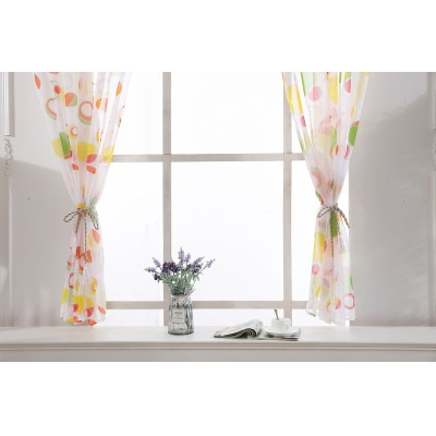 Circle Sheer Curtain Window Treatment Voile Drape Valance For Living Room